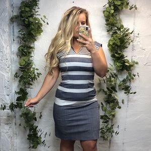 Tommy Hilfiger Striped Grey White Sheath Dress 4